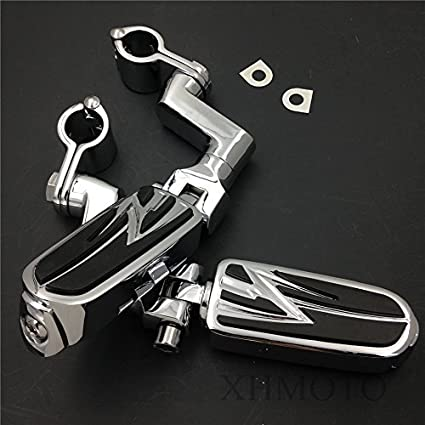 HTTMT MT216-059 Highway Radical Flame Foot Pegs Clamps 1.5 Compatible with Harley Sportster 883 1340 XL1200