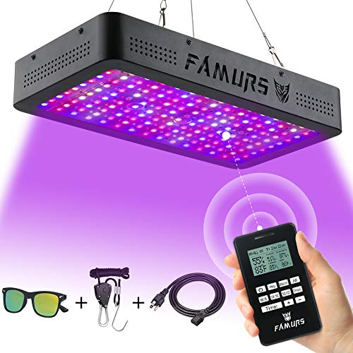 FAMURS 1500W LED Grow Light, Remote Control-Series Grow Lamp with Timer/Thermometer Humidity Monitor and Adjustable Rope,Full Spectrum Plant Light for Indoor Plants Seeding Veg and Flower