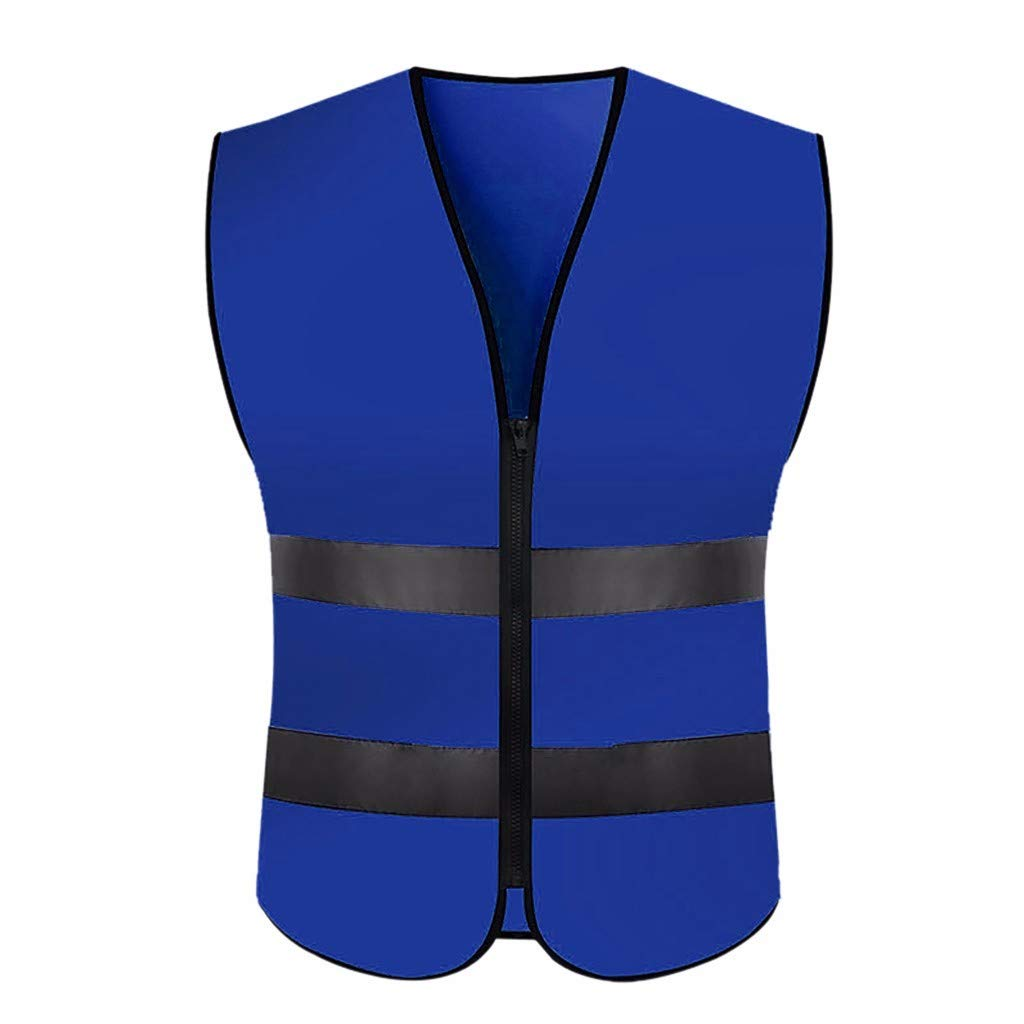 Hi Vis Security Vest LED Reflective Safety Vest with LED Reflective Stripes for Night Work Outdoor Traffic Activities High Visibility Waistcoat Construction and Night Sports with Zip