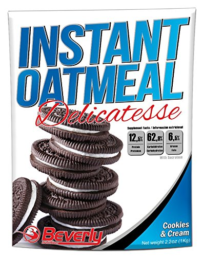 Beverly Nutrition Exclusive For ABSat40 Instant Oatmeal Flour Delicatesse - perfect fuel to energize all sports routines -provides slow-release carbohydrates to the body - Cookies & Cream - 1 kg (Body Oatmeal Cookie)