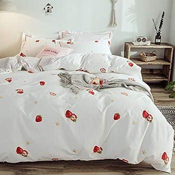 Red Duvet Covers Kids Reversible Stars Print Bedding Boys Girls Quilt Sets