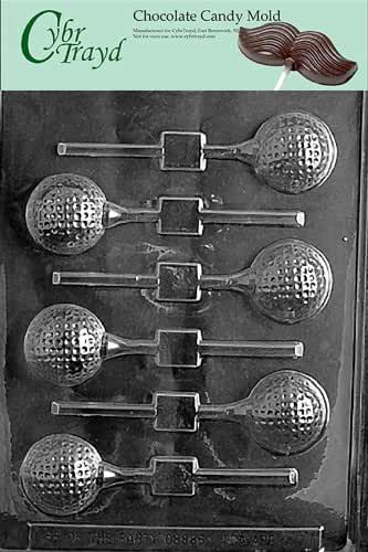 Cybrtrayd S071 Golf Ball Lolly Chocolate Candy Mold with Exclusive Cybrtrayd Copyrighted Chocolate Molding Instructions