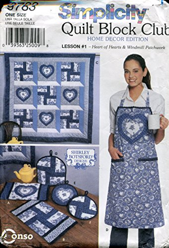 Simplicity Quilt Block Club Pattern 9783 ~ Lesson #1 Heart of Hearts & Windmill Patchwork Quilt and Kitchen Decor