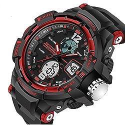 Kids Watches Outdoor Sports Children Watch Stopwatch Quartz Watch Boy Girls LED Digital Alarm Wristwatch Red