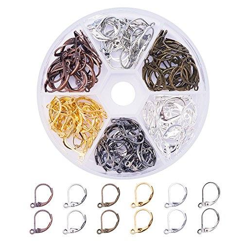 PandaHall Elite 120 Pcs Brass Lever Back Earring French Hook Ear Wire with Open Loop 15X10mm for Jewelry Making 6 ()