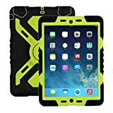 iPad 2 3 4 case, Meiya New Waterproof Shockproof Dirt Snow Sand Proof Survivor Extreme Army Military Heavy Duty Cover Case Kickstand for Apple iPad 2 3 4 Children Gift 2/3/4 Children kid full protection light weight iPad case (Black+Green)