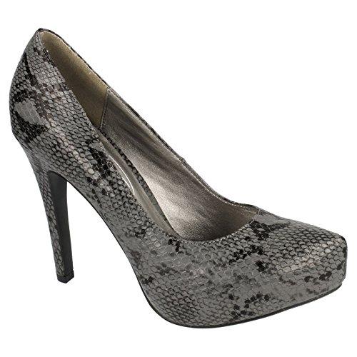 Spot On Womens/Ladies Snake Print High Heel Court Shoes Black Snake Print fT8oeB
