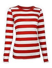 Largemouth Women's Long Sleeve Striped Shirt Red/White