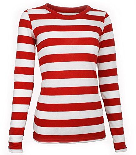 Largemouth Women's Long Sleeve Striped Shirt Red/White - Kit Wenda