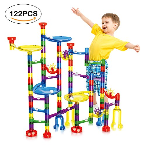 Geekper 122Pcs Marble Run Super Set for Kids Marble Game Learning  Educational Construction Building (Girls Coaster Set)