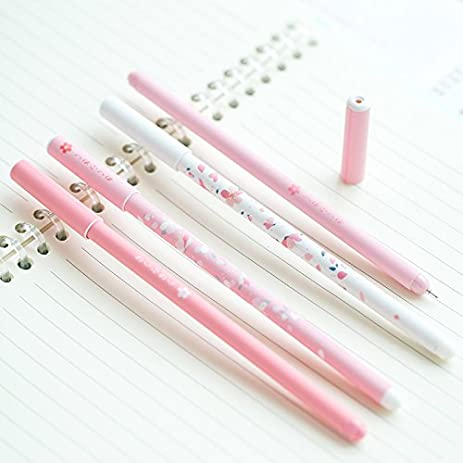 Pink Cherry Sakura Gel Pen Plastic 0.5mm Black Ink Portable Pen Japanese  Cute Writing Pens
