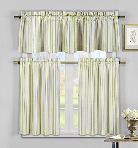 Three Piece Cotton Rich Kitchen/Cafe Tier Window Curtain Set: Striped pattern, One Valance, two Tiers (Sage Green, Taupe and (Stripe Sage Green)