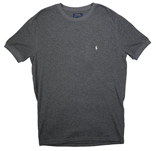 Polo Ralph Lauren Mens Waffle Knit Short Sleeve T Shirt (Charcoal Heather, Large)