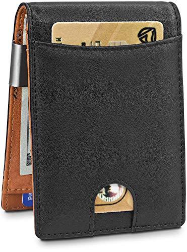 Hombre Carteras de Cuero con Money Clip Billetera de Bifold Cartera de Tarjeta de Crédito