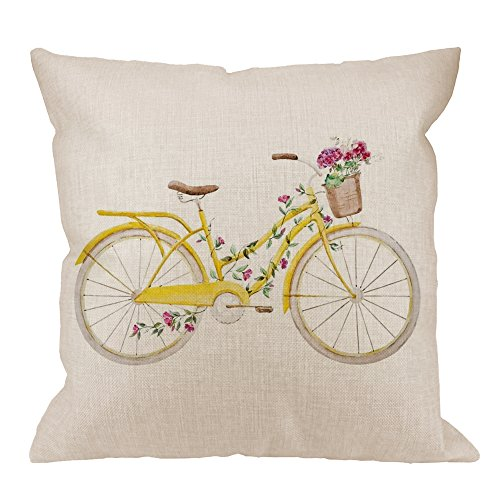 HGOD DESIGNS Bicycle Pillow Cover,Decorative Throw Pillow Bicycle with Flower Pillow cases Cotton Linen Outdoor Indoor Square Cushion Covers For Home Sofa couch 18x18 inch Yellow