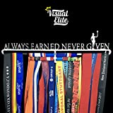 Visual Elite | Always Earned Never Given | Sports Medal Display Hanger Heavy Duty Steel Design for Marathon, Running, Race, 5K, Wrestling, Jiu Jitsu, Spartan, Etc. The Medal Hangers Collection