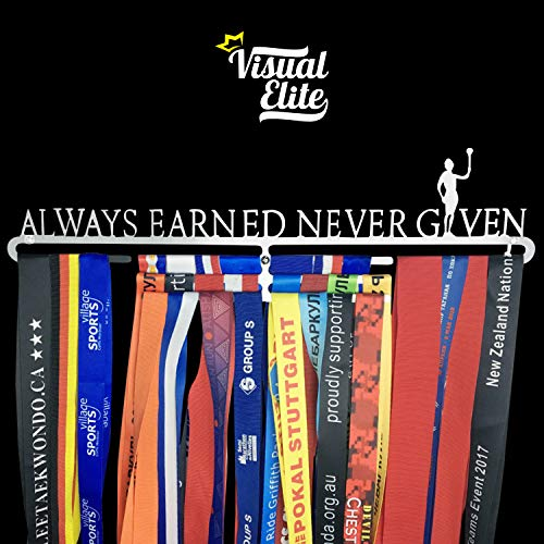 Visual Elite | Always Earned Never Given | Sports Medal Display Hanger Heavy Duty Steel Design For Marathon, Running, Race, 5K, Wrestling, Jiu Jitsu, Spartan, Etc. The Medal Hangers Collection by Visual Elite
