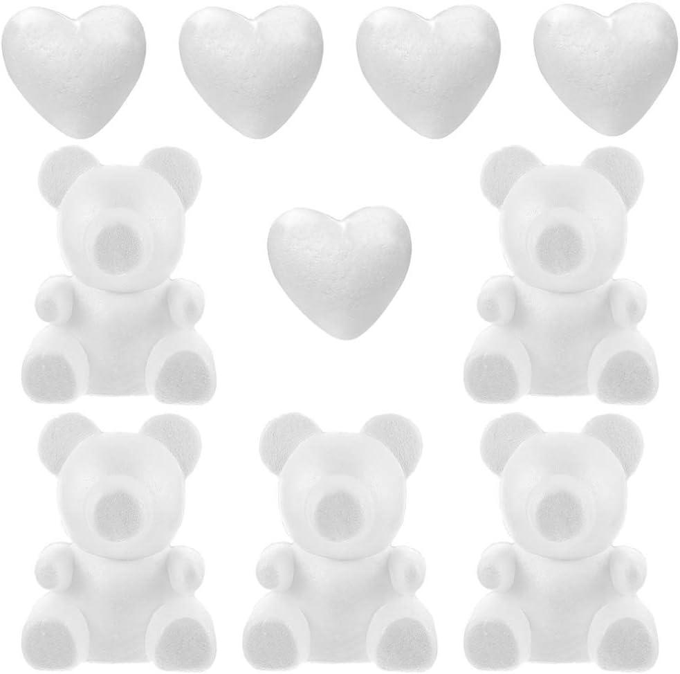KESYOO 10Pcs Molde de Oso 3D Oso de Peluche Coraz/ón Poliestireno Espuma de Poliestireno Modelado Hecho a Mano Arte de Escritorio de Bricolaje Artesan/ía para Arreglos Florales Regalo Boda