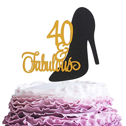 Fabulous 40 Cake Topper - Happy Forty Years Old Birthday Party Décor - Cheers To Successful Woman 40th Birthday Anniversary High Heels Decoration (Gold High Heel Cake Topper)