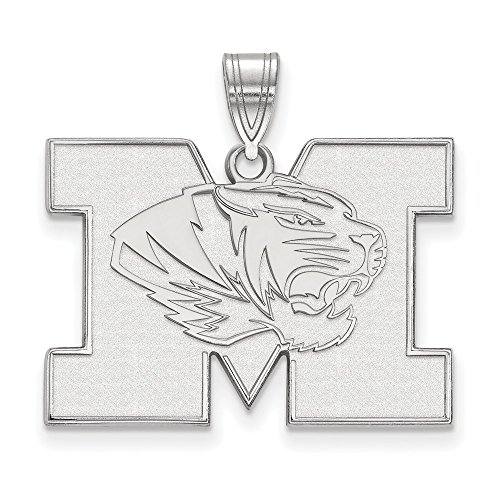 10k White Gold LogoArt Official Licensed Collegiate University of Missouri (Mizzou) Large Pendant by Logo Art