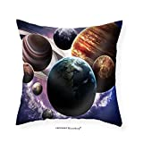 VROSELV Custom Cotton Linen Pillowcase High Resolution Images Presents Planets of the Solar System. - Fabric Home Decor 28''x28''