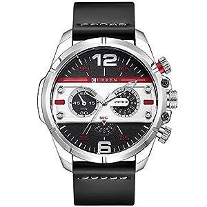 CURREN Original Brand Men's Sports Waterproof Leather Strap Wrist Watch 8259 Silver Black White