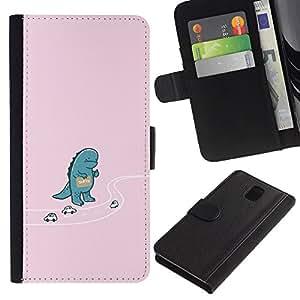 LECELL--Cuero de la tarjeta la carpeta del tirón Smartphone Slots Protección Holder For Samsung Galaxy Note 3 III -- Autostop Godzila divertido --