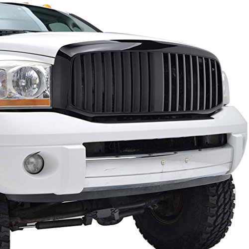 Black Grille Shell (E-Autogrilles 06-08 Dodge Ram 1500/2500/3500 Black ABS Vertical Bar Replacement Grille Grill with Shell (41-0127B))