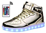 MOHEM ShinyNight High Top LED Shoes Light Up USB Charging Flashing Sneakers(1687003ShiningGold36)