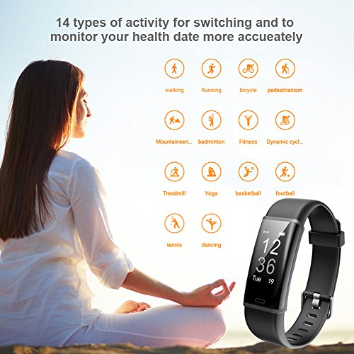 Large Product Image of Lintelek Fitness Tracker, Customized Activity Tracker with Heart Rate Monitor, 14 Sports Modes Smart Watch IP67 Waterproof Bluetooth Pedometer for Men, Women and Kids