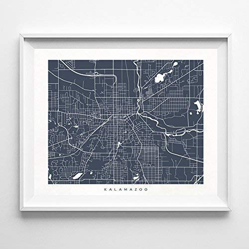 Kalamazoo Michigan Street Road Map Poster Home Decor for sale  Delivered anywhere in USA