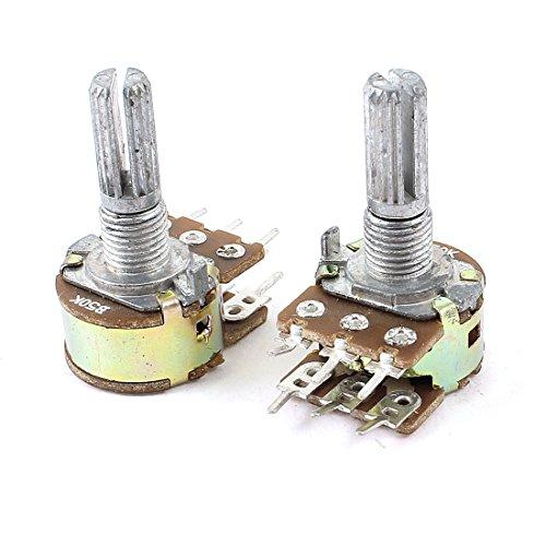 97 B50K 50K Ohm 6 Pins Split Shaft Rotary Linear Dual Taper Potentiometer x 2 ()