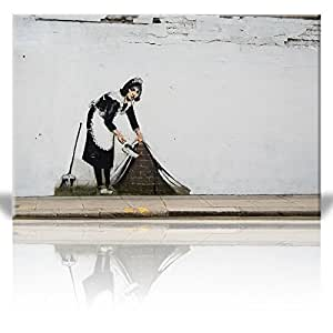 Wall26 - Canvas Print Wall Art - Maid in London - Street Art - Guerilla - Banksy Street Artwork on Canvas Stretched Gallery Wrap. Ready to Hang - 24 x 36 inches