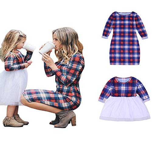 Mommy and Me Matching Plaid Long Sleeve Shirt Dress Princess Tulle Tutu Dress Parent-Child Family Outfits Clothes (Girls, 6-7T)