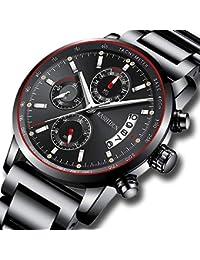 Mens Stainless Steel Watches Men Chronograph Waterproof...