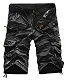 Papijam Mens Casual Classic Mid Waist Multi-Pocket Cargo Shorts black1 S