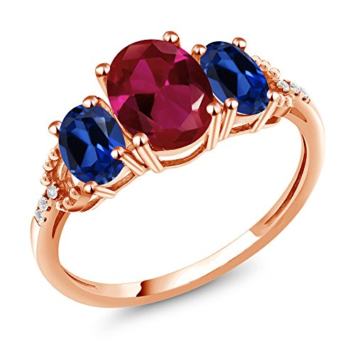 Ring Sapphire Gold Red (2.19 Ct Red Created Ruby Simulated Sapphire 10K Rose Gold Diamond Accent Ring)