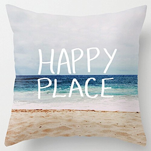 Beach Decor Throw Pillow - Wonder4 Cushion Cover 18x18 inches Cotton Linen Cloth Square Throw Pillow Case Home Decor Sofa Pillow Cover with Words - Happy Place (Beach and Sea)