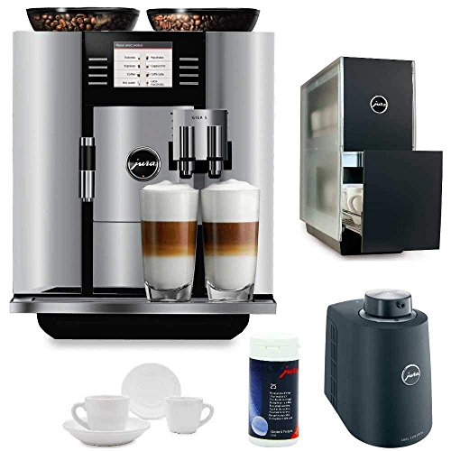 Jura 13623 Giga 5 Automatic Coffee Machine, Aluminum Includes Jura 131 Degree Cup Warmer, Jura Milk Container, Jura Cleaning Tablets and Two Espresso Cups and Saucers