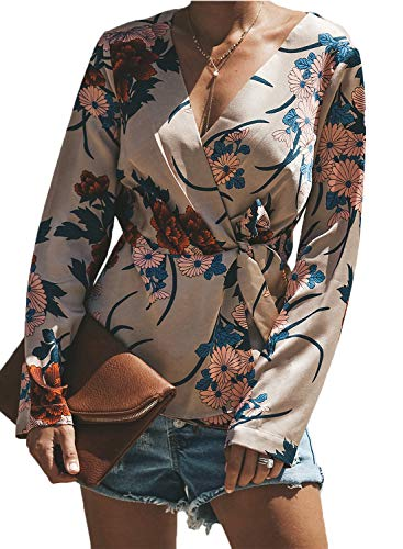 Wrap Floral Chiffon (BLENCOT Women's Apricot Cute Chiffon Floral Tops V Neck Long Sleeve Wrap Front Tie Knot Loose Flowy Blosue T-Shirts Medium)