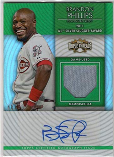 2012 Topps Triple Threads Unity Relic Autographs Emerald #UAR13 Brandon Phillips Autograph Game-Worn Jersey Card #46/50 - Reds