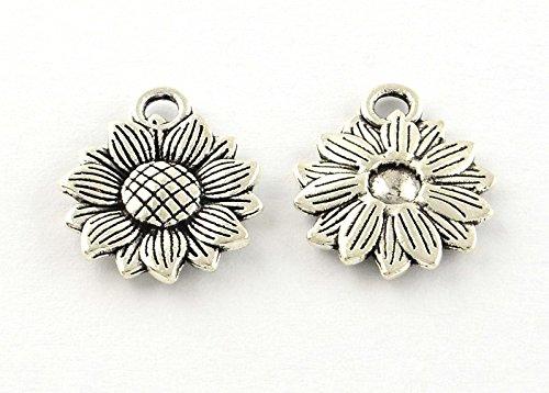 10 x Tibetan Silver SUNFLOWER HEAD FLOWER 18mm Charms Pendants Beads Pink Cat Charms
