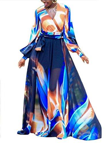 Boho Floreale Dal Chiffon Figura Sexy Blu Coolred Vestito donne Intera Lungo manicotto I8qYg1