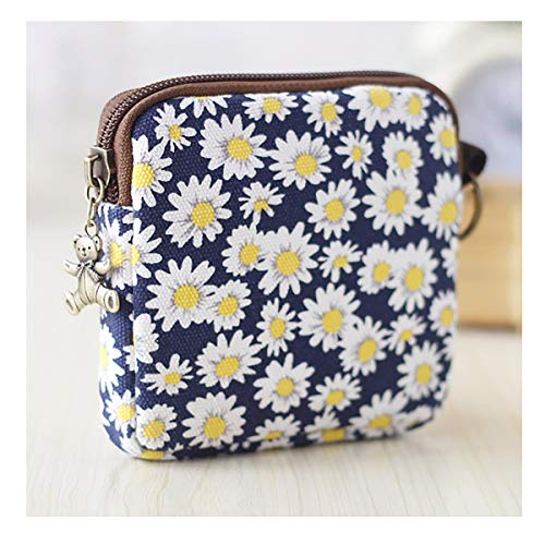 Cute Youth Korean Japanese Style Canvas Novelty Square Wallet Coin Purse Credit Card Photo Bill Key Holder (#SD7923) (Blue Chrysanthemum Pattern)