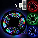 Naladoo 5M/16.4ft LED Strip Lights RGB SMD 3528 300 LED, Flexible Light Strips, Color Changing Led Light Strip Kit with Remote Controller +44 Key IR Remote Control for Home Kitchen Bar Party Decoration