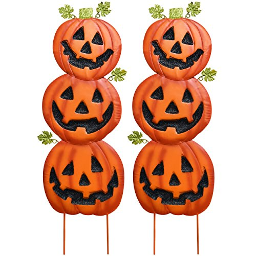 Halloween Sign Post (Gift Boutique Stacked Metal Halloween Jack-O-Lanterns Garden Stakes, Set of 2; Halloween)