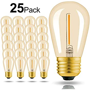 2400K Warm White Weatherproof Waterproof Commercial Grade Bulb Reo-Lite Vintage S14 Edison LED Light Bulbs Great for Outdoor String Lights E26 Base 16 Pack 1W 100 Lumens
