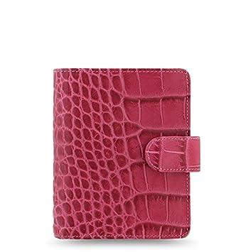 Filofax Classic Croc Print Leather Organizer Agenda Calendar with DiLoro Jot Pad Refills (Pocket, Fuchsia 2019)