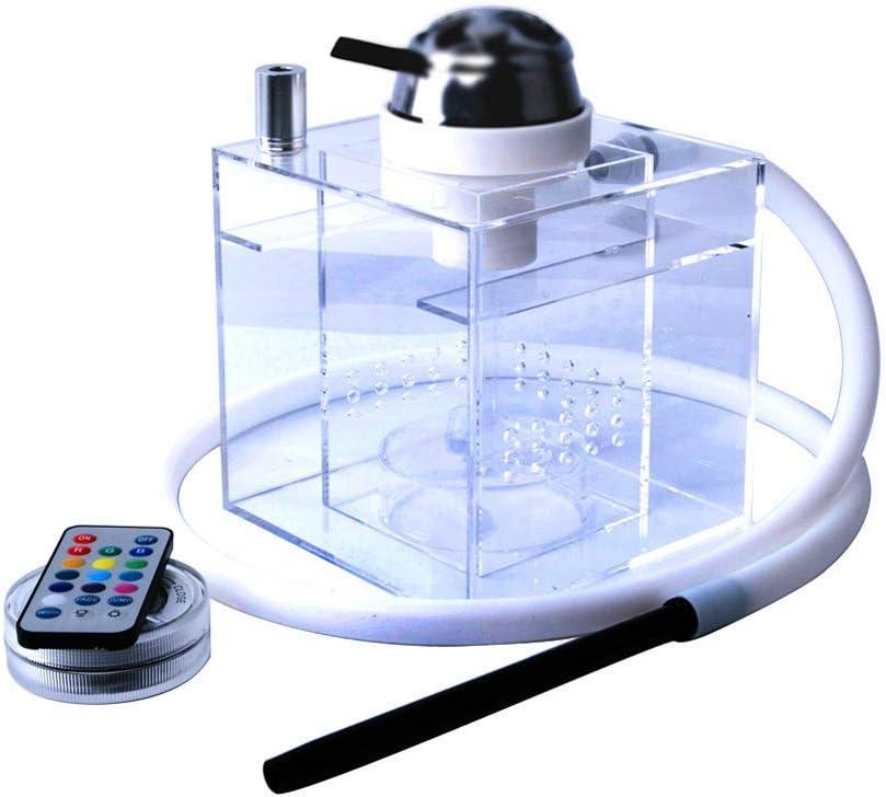 Cachimba Shisha Conjunto con Acrílico Cuadrada Todo Micro Moderna 1 Manguera Personal Conjunto con Luz LED Multicolor De La Manera Transparente De Acrílico Fácil De Limpiar