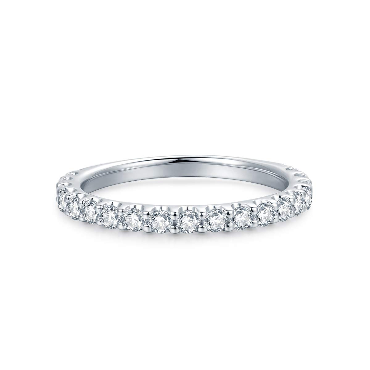 3mm Rhodium Plated Sterling Silver Simulated Diamond Cubic Zirconia CZ Half Eternity Wedding Ring (8.5)